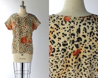 Vintage Escada Silk Top // 1980s Animal Print Cap Sleeve Blouse // Margareths Lay // Small