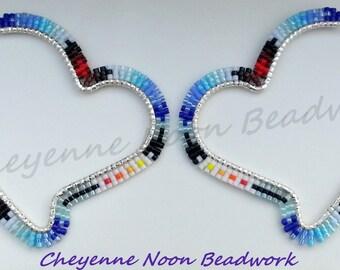 Native American Beaded Earrings - Heart Hoops - Large - Blue Feather