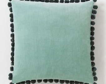 "Blue Velvet Pillow Cover with Black Pom Pom Trim 16"" x 16"""