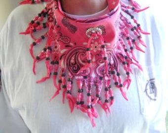 Bandanas, PINK Neck Scarf, Wearable Art, Boho, Western Wear, COSOFG