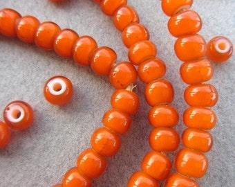 African Orange 'White Heart' Beads