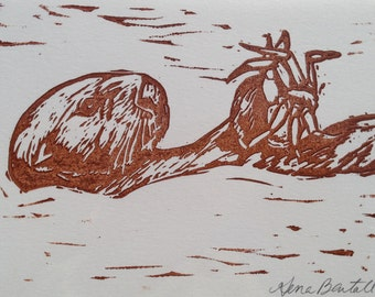 Sea Otter Notecard Series 1: Crab Dinner