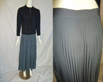 Grey Accordian Pleated Vintage Womens Holiday MAXI Skirt M L
