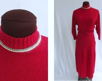 Vintage 40s 50s 2 Piece Sweater Dress Red Wool Knit  with White Trim and Rhinestones Size S