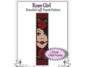 Bead Pattern Peyote(Bracelet Cuff)-Rose Girl