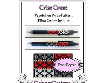 Bead Pattern Peyote(Pen Wrap/Cover)-Criss Cross