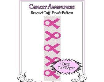 Bead Pattern Peyote(Bracelet Cuff)-Cancer Awareness
