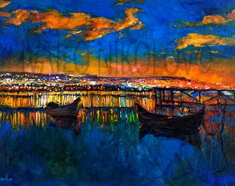 Original Oil Painting on Canvas-Blue Harmony2 26x20in Landscape Painting-Original Art -Impressionistic Oil on Canvas by Ivailo Nikolov