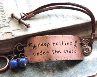 Jack Kerouac Bracelet, Travel Jewelry, Quote Jewelry, Boho Bracelet, Stamped Jewelry, Keep Rolling Under the Stars, Wanderlust, On the Road
