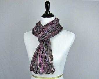 Cowl, Infinity Scarf, Crocheted, Wool Acrylic Rayon Blend Yarn, Purple Lavender Tweed, Warm, Cozy Wrap, Handmade Gift, Scarf, Decorative