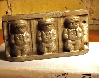 Vintage Chocolate Mold, German Candy Mold, Three Boys Confection Mold, Metal Numbered Candy Mold