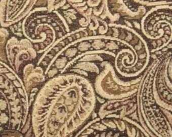 Paisley Heavy Woven Upholstery Fabric Earth Tones, Cloth, Yardage, Home Decor