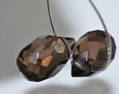 Listed @ 20% Off Sale Was 5.89---2 Pieces 12x7mm Gemmy~Natural SMOKY QUARTZ Faceted Teardrop Briolette Beads Pendant// Matched Piar - M0915