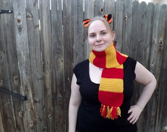 Gorgeous Cosplay Scarf Scarlet and Gold Autumn Scarf Warm Wool Striped