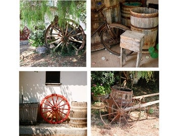 Rustic Decor - SAVE 20% - Country Print Collection - Farmhouse Wall Art - Wagon Wheels Prints - Wine Barrel Photograph Olympia Greece Winery
