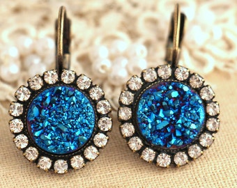 Druzy Earrings,Druzy drop earrings,Blue Druzy crystal earrings,Gemstone Earrings,Druzy Gemstone Drop Earrings,gift for her,Druzy droplets