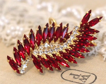 Ear Cuff Earrings,Crystal Climbing Earrings,Ruby red Crystal Cuff Earrings,Climbing statement earrings,Ruby Red Swarovski Earrings
