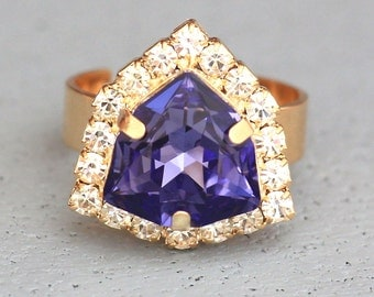 Crystal Ring,Purple Swarovski Ring,Amethyst Ring,Cocktail Ring,Purple Ring,Gift for her,Bridesmaids Gifts,Adjustable Ring,Gold Purple Ring