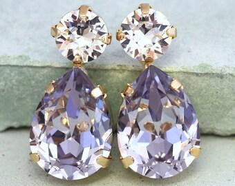Purple Earrings, Bridal Purple Earrings, Lavender Earrings, Swarovski Purple Earrings, Bridesmaids Earrings, Light Purple Earrings