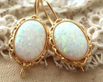 Opal Earrings,White Opal Drop Earrings,Gold Filled Opal Earrings,Gift for Her,Opal Dangle Earrings,Bridal Opal Earrings,Christmas Gift
