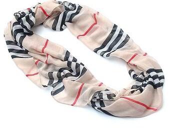 Infinity Scarf-PLAID-BEIGE-women Stripe Scarves, Loop Scarfs, Infinity Plaid Scarves,Plaid Infinity Scarf,Fashion Scarves