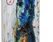Oil Paint on Gallery Wrapped Stretched Canvas 12 by 12 by 3/4 in. / Original Oil Painting Modern Looks Vintage Art Abstract Girl 2014 Artist