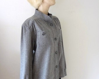 1970s Wool Shirt - grey button front top - Bill Haire designer vintage