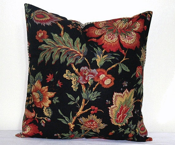 Black Flower Throw Pillow : Black Floral Botanical Decorative Pillow Cover Throw by PatsTable