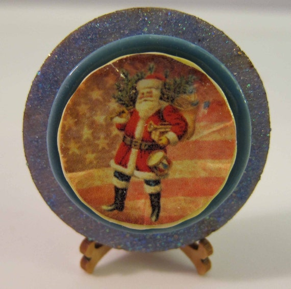 Dollhouse Miniature Ceramic Plate 1:12 Scale R/W/B