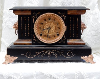 Antique Mantel Clock FLORENCE Wm. L. Gilbert Winstead, Conn. U.S.A.- Handpainted Copper & Brass Leafing