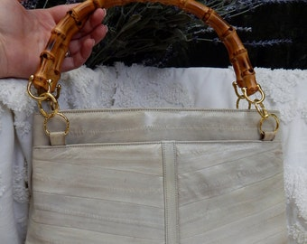Classic Styled EEL Skin Handbag with BAMBOO Handles RARE Vintage Bag By Lee Sands