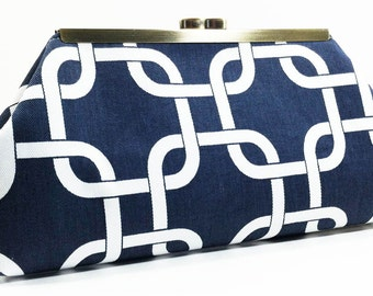 Clutch Purse - Navy Blue White Links Nautical Beach Wedding Clutch Bag