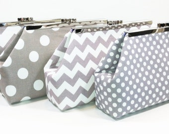 Bridesmaid Clutches, Bridal Clutch, Personalized Bridesmaids Gifts - Choose Your Fabric Grey Set of 6
