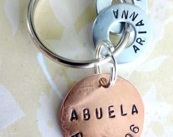 ABUELA Gift Personalized Christmas Keychain - Hand Stamped Key Chain - Birthday Gift - Grandparent Gift -  Copper Disc & Washers