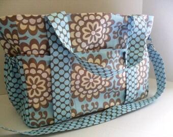 Extra Large Diaper Bag - Amy Butler Fabrics- Elastic Pockets - Diaper Bag - Messenger Bag - Tote Bag - Personalized