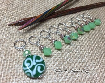 Green Beaded Glass Stitch Markers- Snag Free Knitting Markers- Gifts for Knitters