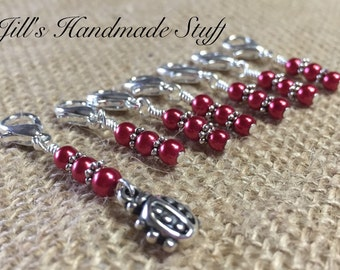 Lady Bug Crochet Markers- Removable Clip on Red Stitch Markers- Crochet Gifts
