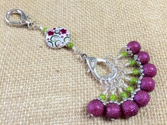 Knitting Lifeline With Stitch Markers : Raspberry Lime Stitch Markers & Knitting Lanyard Snag Free