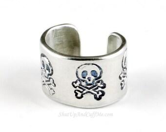 Skull Ear Cuff - Aluminum Stamped Ear Cuff