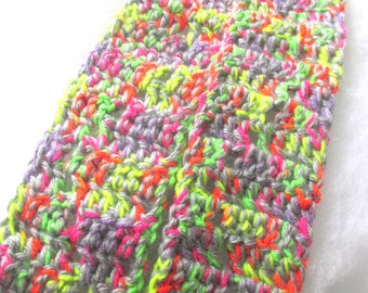 CLEARANCE - Neon and Gray Child / Youth Scarf - with a subtle zig zag design