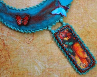 Turquoise Butterflies, Felted Bead Embroidery, Boho Gypsy Chic, Wearable Art, Gift for Her, Special Occasion Jewelry