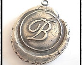Handmade Silver Wax Seal Classic Cursive Initial Pendant, Hand Stamped Initial Charm