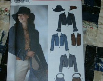 2002 Simplicity Pattern 5836 for Juniors Jacket or Vest, Bag and Hats in Three Sizes Size AA 3/4 - 15/16 Uncut