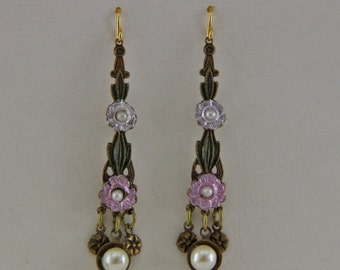 Vintage Flowered Dangle Earrings