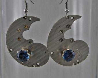 Handmade Steampunk Watch Plate Blue Zircon CZ Earrings