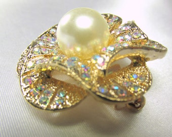 Crystal AB and Pearl Rose 1.75 inch Brooch on Gold