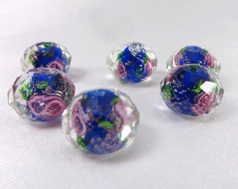 6 Royal Blue and Pink Faceted Rose Lampwork Glass 12x8mm Rondelle Spacer Jewelry Beads