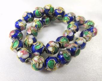 30 COBALT BLUE and Metallic Gold 6mm Cloisonne Pink White Green Flower Beads