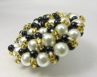 Black White and Gold Pearl Beaded Extra Large 35mm Buttons