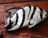 "Spadefish 22"" chainsaw wood carving original Todd Lynd art nautical accent piece caribbean fish sculpture beach home decor wall mount"